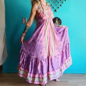 VTG Reclaimed Silk Sari Maxi Dress OSFM